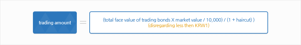 trading amount = (total face value of trading bonds X market value / 10,000) / (1 + haircut) (disregarding less then KRW1)