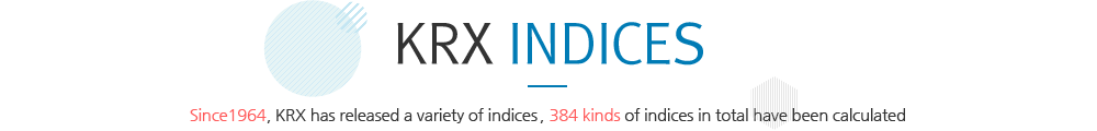 KRX INDICES - Since 1964 KRX has released a variety of indices, 130 kinds of indices in total have been launched